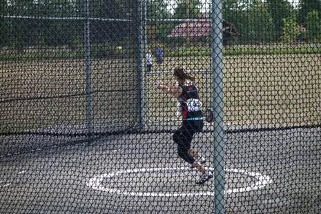 Hanna mid-spin in the hammer throw (photo by Blair Bateson)