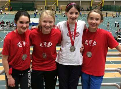 From left: Juliette, Alex, Katy and Jasper                                            Provincial Silver Medalists in the bantam 4x200m relay
