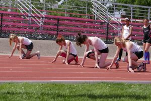 80m start.. Emily, Alexi, Tristan, Meghan PC S. Feschuk